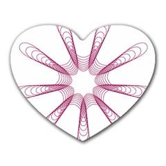 Spirograph Pattern Circle Design Heart Mousepads