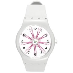 Spirograph Pattern Circle Design Round Plastic Sport Watch (m)