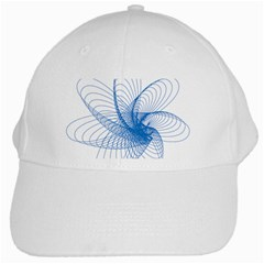 Spirograph Pattern Drawing Design Blue White Cap