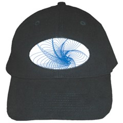Spirograph Pattern Drawing Design Blue Black Cap