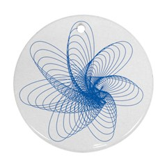 Spirograph Pattern Drawing Design Blue Ornament (round)