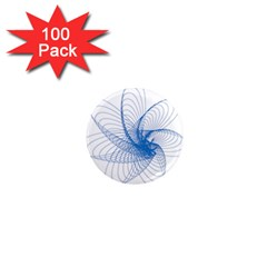 Spirograph Pattern Drawing Design Blue 1  Mini Magnets (100 pack)