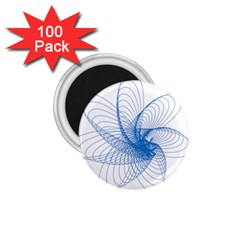 Spirograph Pattern Drawing Design Blue 1 75  Magnets (100 Pack)