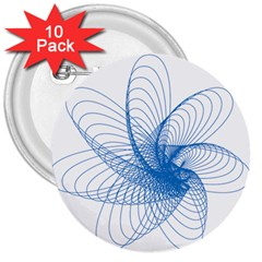 Spirograph Pattern Drawing Design Blue 3  Buttons (10 pack)