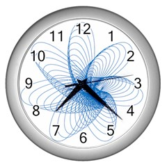 Spirograph Pattern Drawing Design Blue Wall Clocks (Silver)