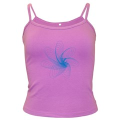 Spirograph Pattern Drawing Design Blue Dark Spaghetti Tank