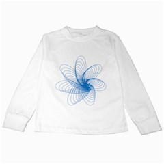 Spirograph Pattern Drawing Design Blue Kids Long Sleeve T-Shirts