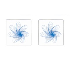Spirograph Pattern Drawing Design Blue Cufflinks (square)