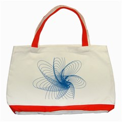 Spirograph Pattern Drawing Design Blue Classic Tote Bag (Red)