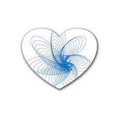 Spirograph Pattern Drawing Design Blue Heart Coaster (4 Pack)