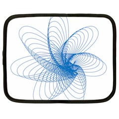 Spirograph Pattern Drawing Design Blue Netbook Case (large)