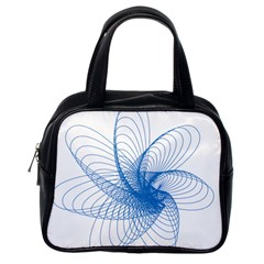Spirograph Pattern Drawing Design Blue Classic Handbags (one Side)