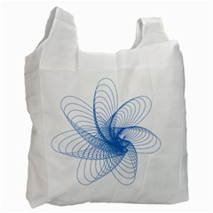 Spirograph Pattern Drawing Design Blue Recycle Bag (one Side)