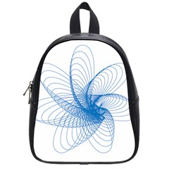 Spirograph Pattern Drawing Design Blue School Bags (Small)