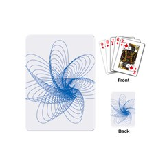 Spirograph Pattern Drawing Design Blue Playing Cards (Mini)