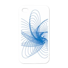 Spirograph Pattern Drawing Design Blue Apple iPhone 4 Case (White)
