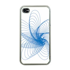 Spirograph Pattern Drawing Design Blue Apple Iphone 4 Case (clear)