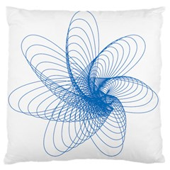 Spirograph Pattern Drawing Design Blue Large Cushion Case (two Sides)
