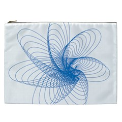 Spirograph Pattern Drawing Design Blue Cosmetic Bag (XXL)