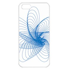 Spirograph Pattern Drawing Design Blue Apple iPhone 5 Seamless Case (White)