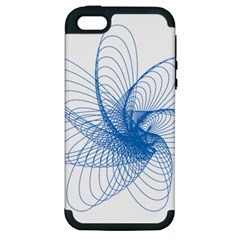 Spirograph Pattern Drawing Design Blue Apple Iphone 5 Hardshell Case (pc+silicone)