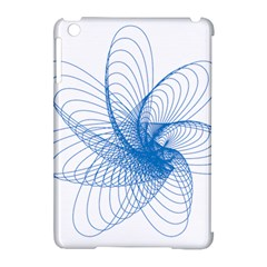 Spirograph Pattern Drawing Design Blue Apple iPad Mini Hardshell Case (Compatible with Smart Cover)