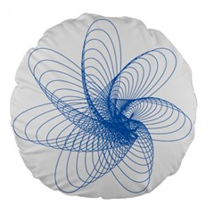 Spirograph Pattern Drawing Design Blue Large 18  Premium Round Cushions
