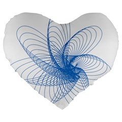 Spirograph Pattern Drawing Design Blue Large 19  Premium Heart Shape Cushions