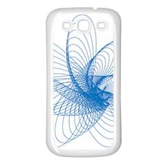 Spirograph Pattern Drawing Design Blue Samsung Galaxy S3 Back Case (white)