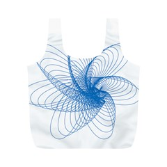 Spirograph Pattern Drawing Design Blue Full Print Recycle Bags (m)