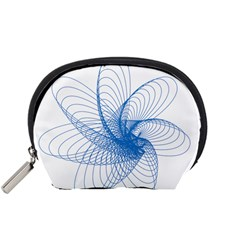 Spirograph Pattern Drawing Design Blue Accessory Pouches (small)