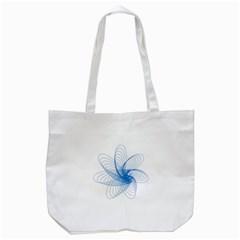 Spirograph Pattern Drawing Design Blue Tote Bag (white)