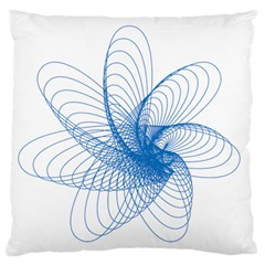 Spirograph Pattern Drawing Design Blue Large Flano Cushion Case (Two Sides)