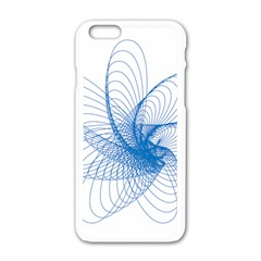 Spirograph Pattern Drawing Design Blue Apple Iphone 6/6s White Enamel Case
