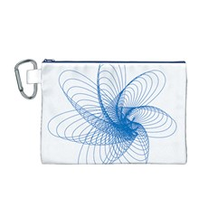 Spirograph Pattern Drawing Design Blue Canvas Cosmetic Bag (m)