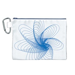 Spirograph Pattern Drawing Design Blue Canvas Cosmetic Bag (l)