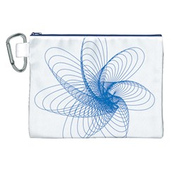 Spirograph Pattern Drawing Design Blue Canvas Cosmetic Bag (xxl)