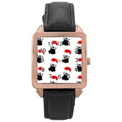 Pattern Sheep Parachute Children Rose Gold Leather Watch