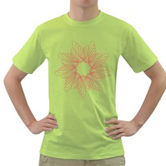 Spirograph Pattern Drawing Design Green T Shirt