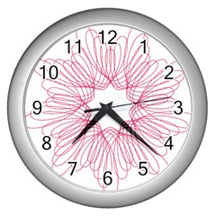 Spirograph Pattern Drawing Design Wall Clocks (Silver)
