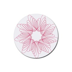 Spirograph Pattern Drawing Design Rubber Round Coaster (4 Pack)