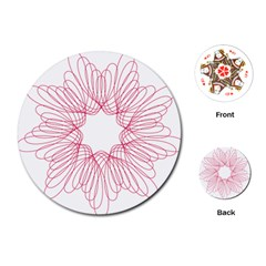 Spirograph Pattern Drawing Design Playing Cards (round)