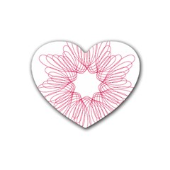 Spirograph Pattern Drawing Design Heart Coaster (4 pack)