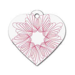 Spirograph Pattern Drawing Design Dog Tag Heart (Two Sides)