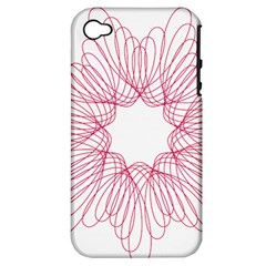 Spirograph Pattern Drawing Design Apple Iphone 4/4s Hardshell Case (pc+silicone)