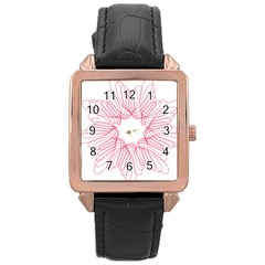 Spirograph Pattern Drawing Design Rose Gold Leather Watch