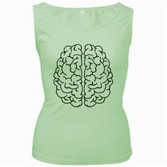 Brain Mind Gray Matter Thought Women s Green Tank Top