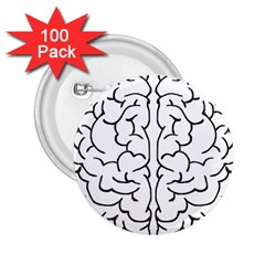 Brain Mind Gray Matter Thought 2 25  Buttons (100 Pack)