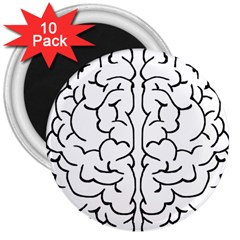 Brain Mind Gray Matter Thought 3  Magnets (10 Pack)