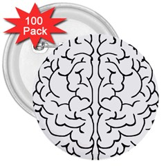 Brain Mind Gray Matter Thought 3  Buttons (100 pack)